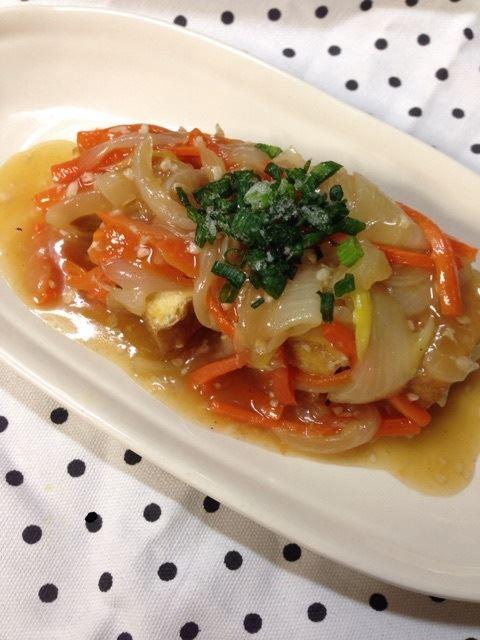 ちーママレシピ「厚揚げの野菜あんかけ」
