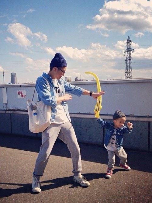 パパと子供の春夏親子コーディネート画像3