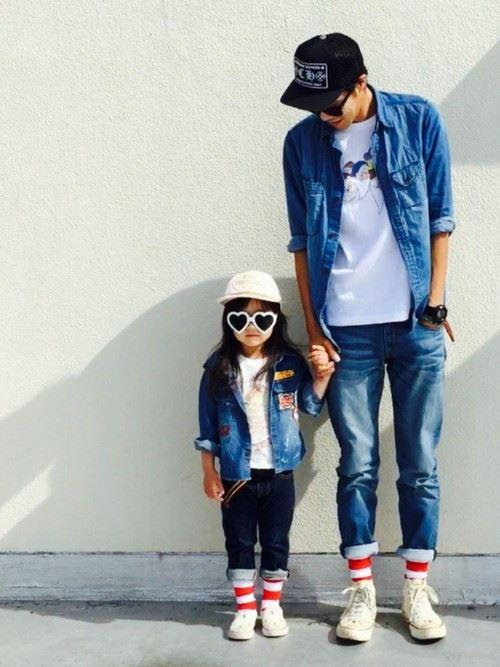 パパと子供の春夏親子コーディネート画像4
