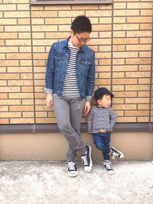 パパと子供の春夏親子コーディネート画像5