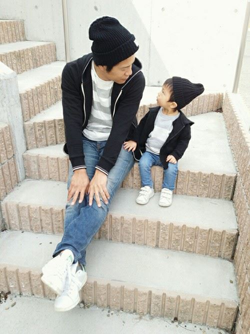パパと子供の春夏親子コーディネート画像7