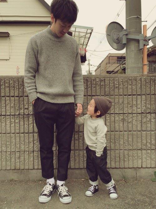 パパと子供の春夏親子コーディネート画像8