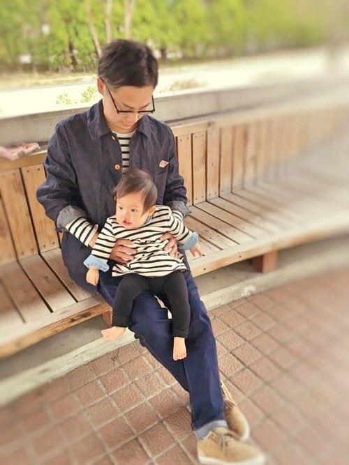 パパと子供の春夏親子コーディネート画像12