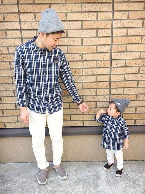 パパと子供の春夏親子コーディネート画像16